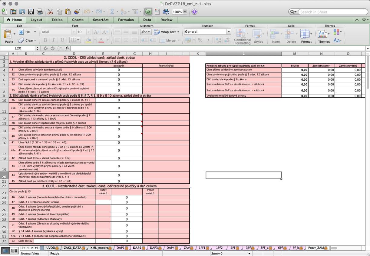 Náhled šablony v Excelu