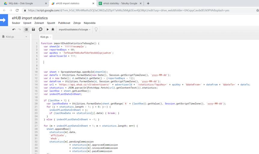 Veškerý kód nahradíme předpřipraveným kódem od nás