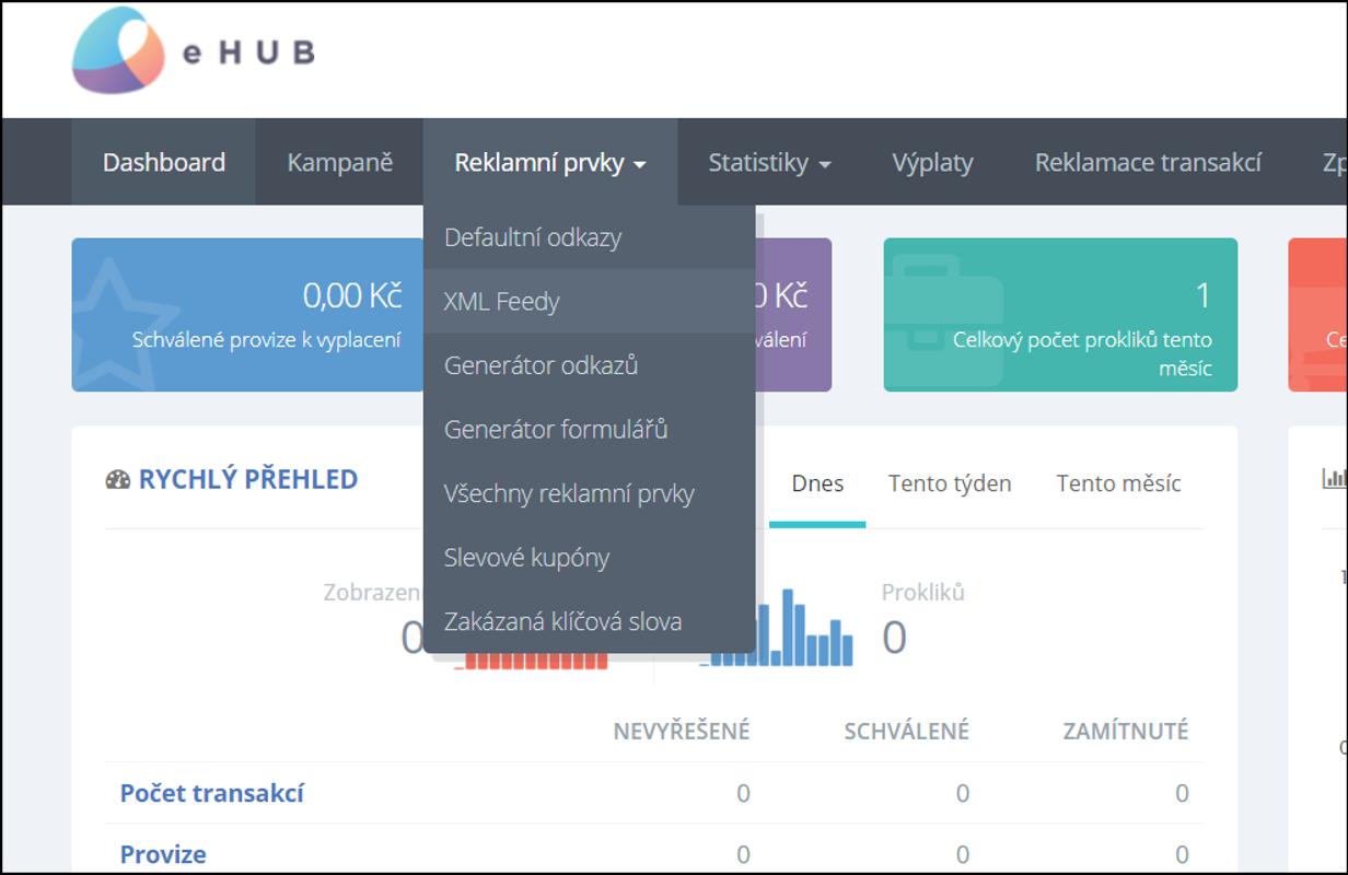 Sekce Reklamní prvky – XML Feedy v administraci eHUB