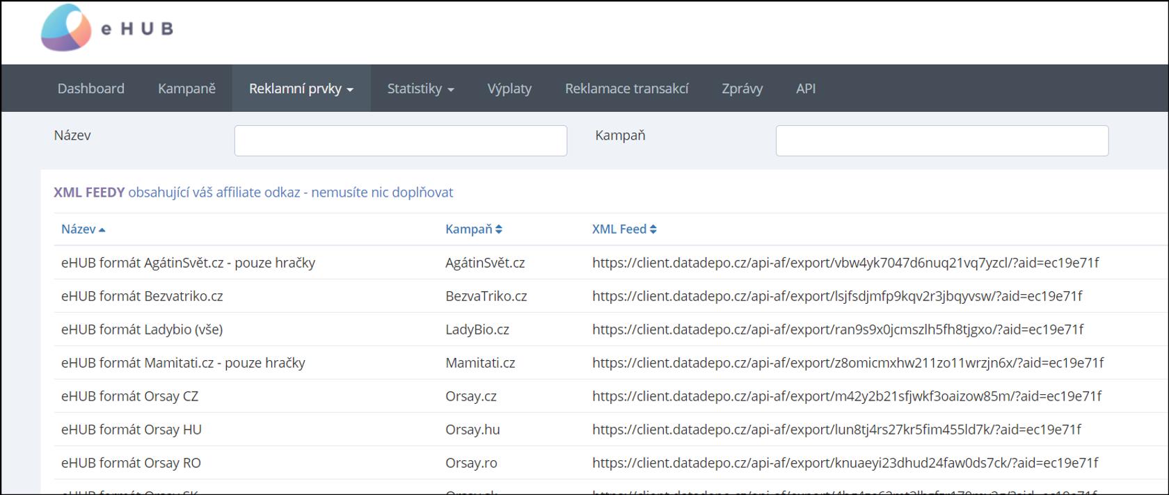 Výpis XML feedů v eHUB formátu