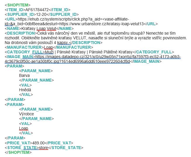Specifikace struktury XML feedu
